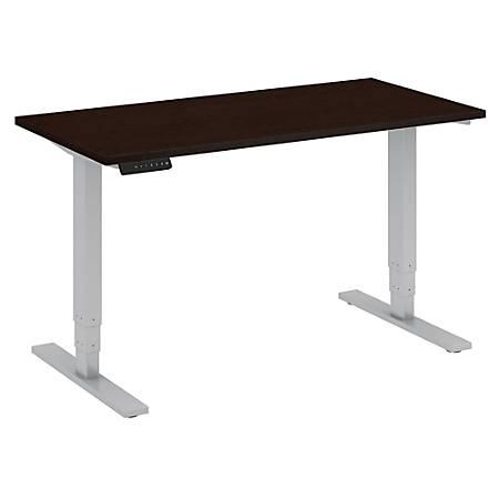 "Bush Business Furniture Move 80 Series 48""W x 24""D Height Adjustable Standing Desk, Mocha Cherry/Cool Gray Metallic, Premium Installation"
