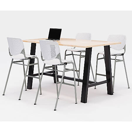 """KFI Midtown Bistro Table With 4 Stacking Chairs, 41""""H x 36""""W x 72""""D, Kensington Maple/White"""