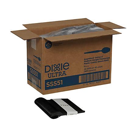 Dixie® Ultra SmartStock by GP PRO Series-O Plastic Utensil Refills, Spoons, Black, 40 Spoons Per Refill, Case Of 24 Refills