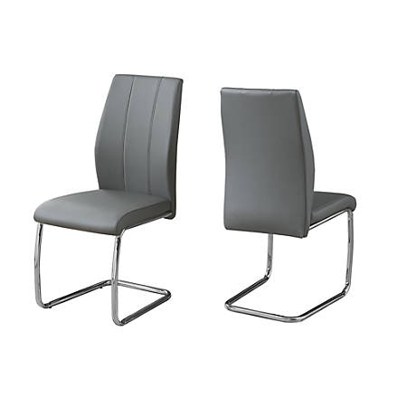 Monarch Specialties Sebastian Dining Chairs, Gray/Chrome, Set Of 2 Chairs
