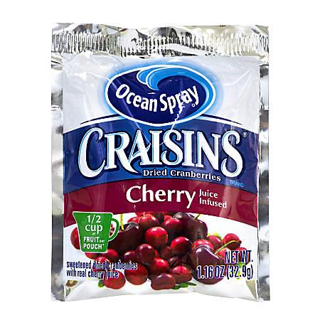 Ocean Spray Craisins Dried Cranberries, Cherry Flavor, 1.16 Oz, Pack Of 200 Bags