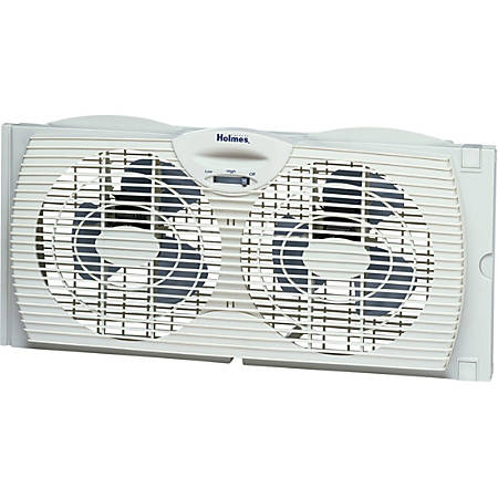 "Holmes Twin Window Fan with Reversible Air Flow Control - 177.8 mm Diameter - 2 Speed - Water Resistant, Quiet, Adjustable Extender Panel, Adjustable Extender Screen - 22.7"" Height x 11.7"" Width"