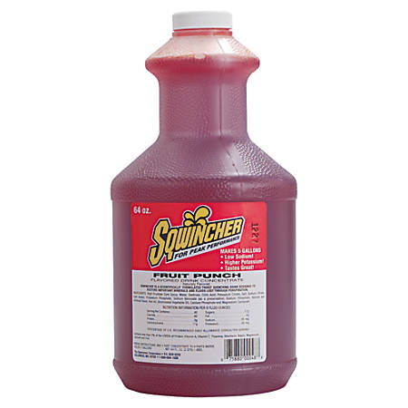 Sqwincher ZERO Liquid Concentrate, Fruit Punch, 64 Oz, Case Of 6
