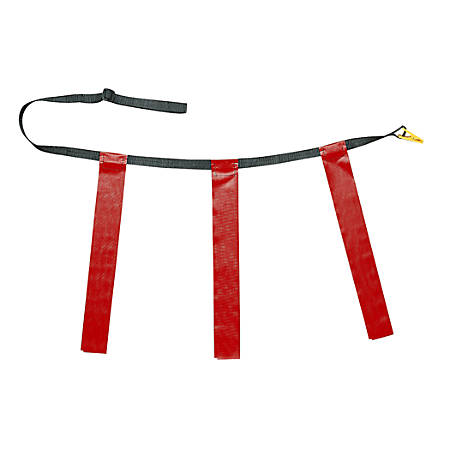 "Champion Sports Triple Flag Football Belt, Waist Size 25"" – 31"", Red, Set Of 12"