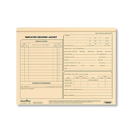 "ComplyRight Letter-Size Standard Employee Record Jackets, 11 3/4"" x 9 1/2"", Pack Of 25"