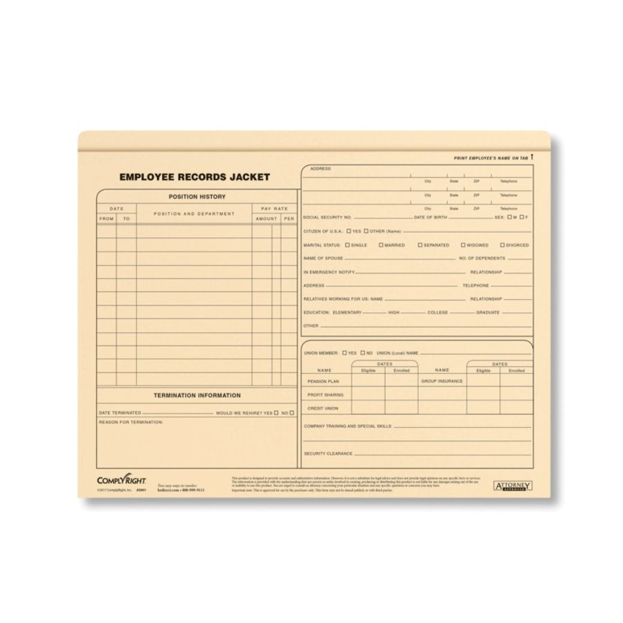 Complyright Letter Size Standard Employee Record Jackets 11 34 X 9