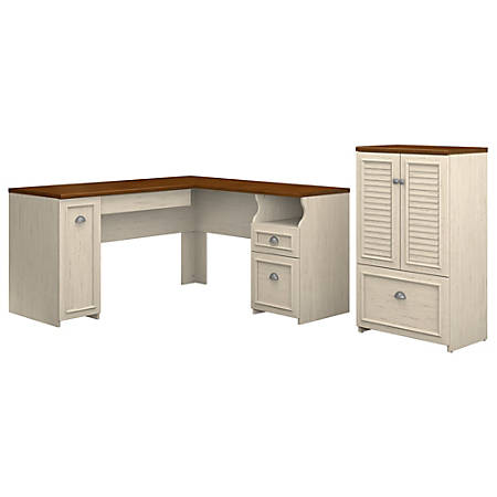 """Bush Furniture Fairview 60""""W L Shaped Desk And Storage Cabinet With Drawer, Antique White/Tea Maple, Standard Delivery"""