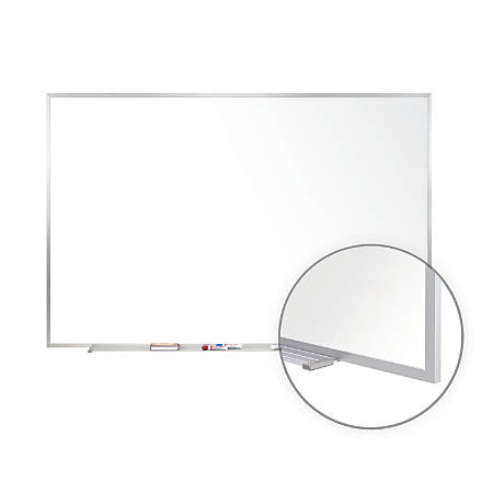 """Ghent Non-Magnetic Dry-Erase Whiteboard, Steel, 48"""" x 72"""", Aluminum Frame"""