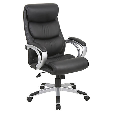 Lorell® High-Back Bonded Leather Chair, Black/Silver