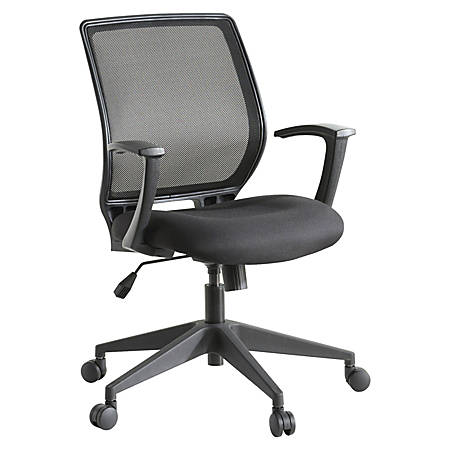 Lorell® Mid-Back Work Chair, Mesh/Fabric, Black