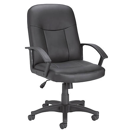 Lorell® Managerial Bonded Leather Mid-Back Chair, Black