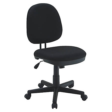 Lorell® Contoured Mid-Back Fabric Task Chair, Black
