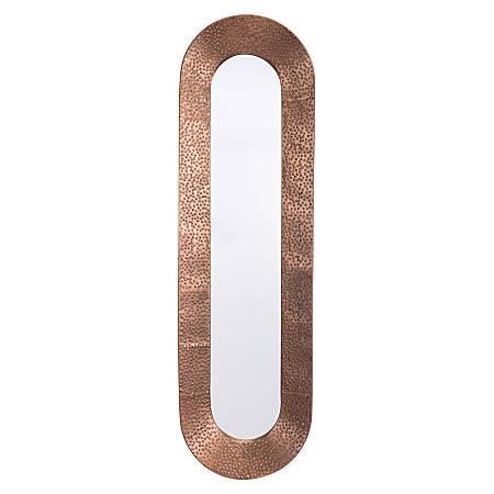 """Zuo Modern Skinny Oval Mirror, 40 7/16""""H x 12""""W x 2 7/16""""D, Copper"""