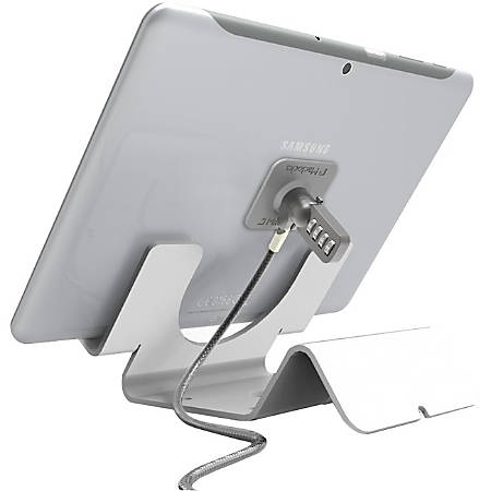 Universal Security Tablet Holder White - With Security Cable Lock and Plate