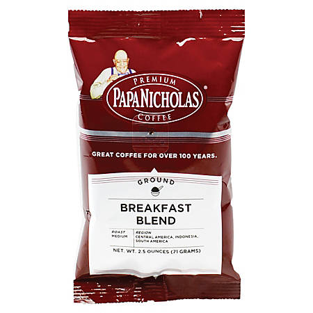 PapaNicholas Coffee Breakfast Blend Coffee Packets, 2.5 Oz, Pack Of 18