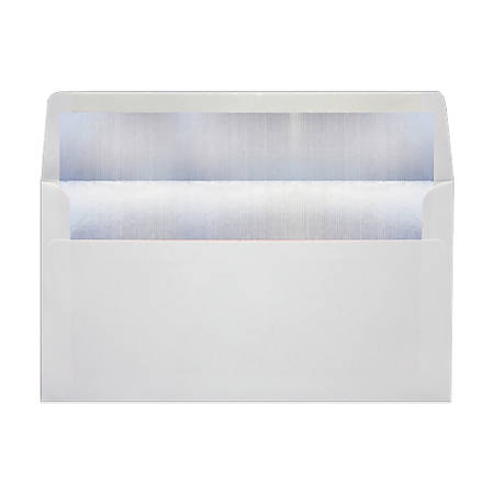 """LUX Photo Greeting Foil-Lined Invitation Envelopes With Peel & Press Closure, A7, 4 3/8"""" x 8 1/4"""", White/Silver, Pack Of 50"""