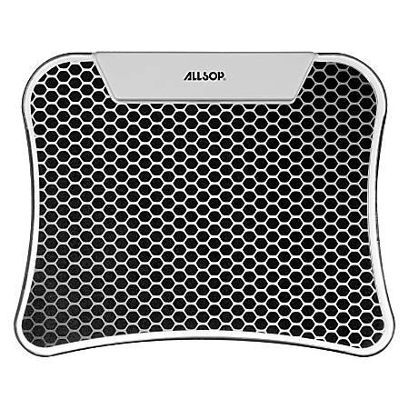 "Allsop® LED Mouse Pad/USB Hub, 9"" x 11"", Hex, Black/Silver"
