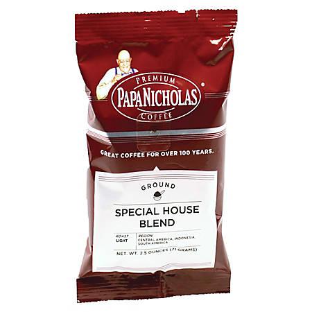 PapaNicholas Coffee Special House Blend Coffee Single-Serve Packets, 2.5 Oz, Carton Of 18