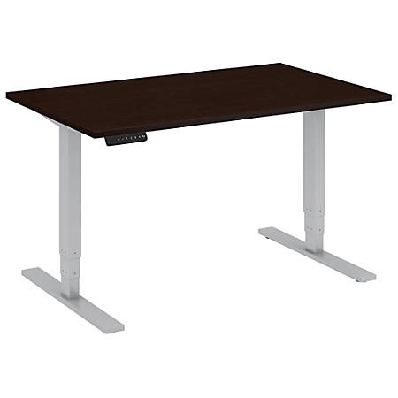 """Bush Business Furniture Move 80 Series 48""""W x 30""""D Height Adjustable Standing Desk, Mocha Cherry/Cool Gray Metallic, Standard Delivery"""