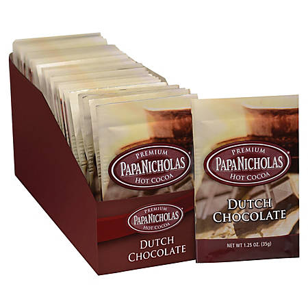PapaNicholas Coffee Premium Dutch Chocolate Hot Cocoa, 1.25 Oz, Pack Of 24
