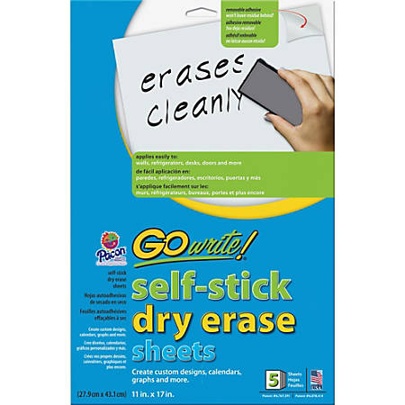 "GoWrite!™ Self-Stick Dry-Erase Sheets, 11"" x 17"", Pack Of 5 Sheets"