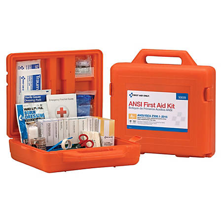 "First Aid Only Weatherproof 215-Piece First Aid Kit, 4""H x 13""W x 12""D, Orange"