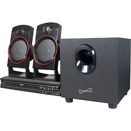Supersonic SC-35HT 2.1 Home Theater System - 11 W RMS - DVD Player - DVD-R, CD-RW - DVD Video, VCD, SVCD - USB