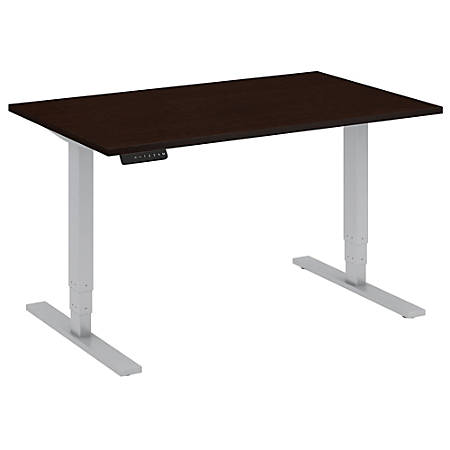 """Bush Business Furniture Move 80 Series 48""""W x 30""""D Height Adjustable Standing Desk, Mocha Cherry Satin/Cool Gray Metallic, Standard Delivery"""