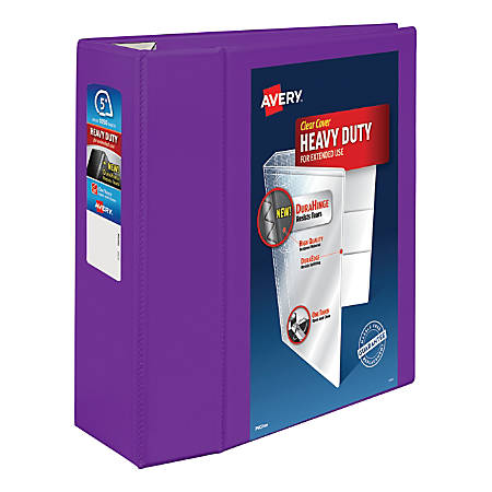 """Avery® Heavy-Duty View Binder With Locking EZD Rings, 5"""" Rings, 38% Recycled, Purple"""