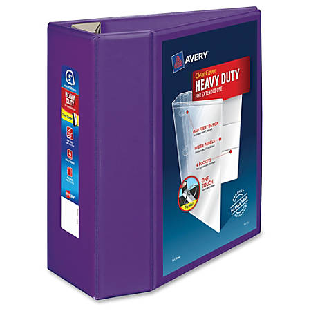 "Avery® Heavy-Duty View Binder With Locking EZD Rings, 5"" Rings, 38% Recycled, Purple"