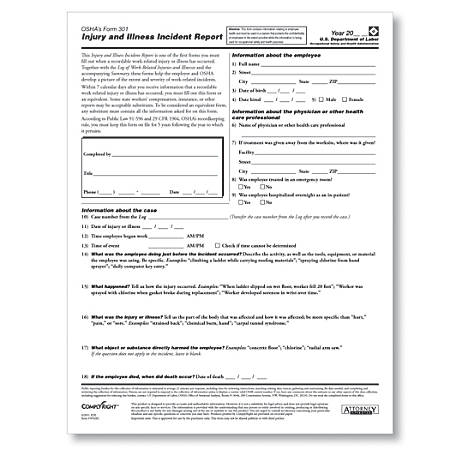 "ComplyRight OSHA Form 301, 8 1/2"" x 11"", White, Pack Of 25"