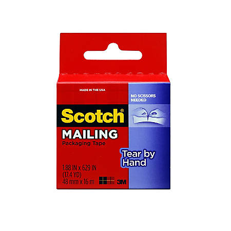 """Scotch® Tear-By-Hand Tape, 1.88"""" x 17.4 yd., Clear"""