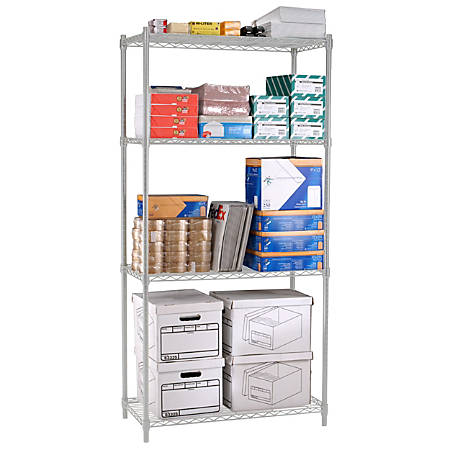 "OFM Heavy-Duty Storage Unit, 72""H x 36""W x 18""D, Silver"