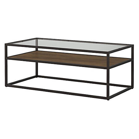 Bush Furniture Anthropology Glass Top Coffee Table, Rustic Brown Embossed, Standard Delivery