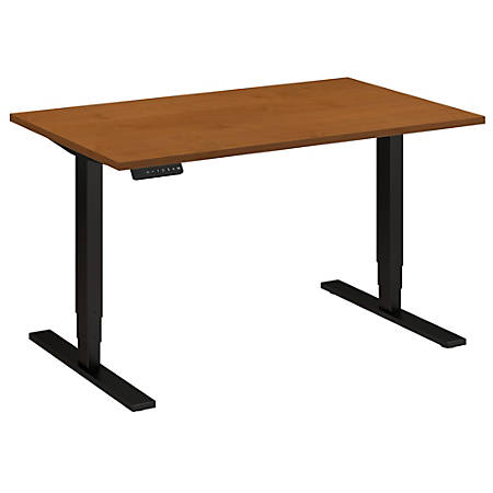 "Bush Business Furniture Move 80 Series 48""W x 30""D Height Adjustable Standing Desk, Natural Cherry/Black Base, Premium Installation"
