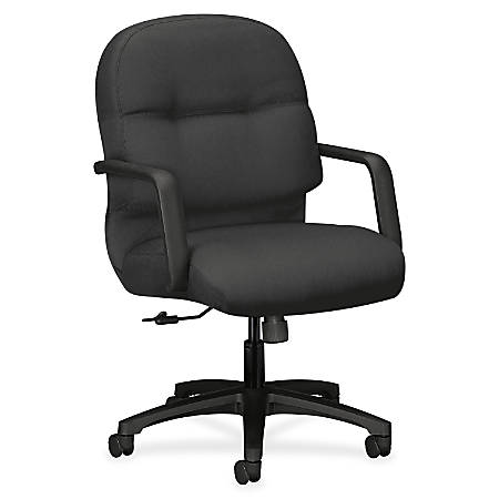 "HON Pillow-Soft Executive Mid-Back Chair - Polyester Iron Seat - Polyester Iron Back - Black Frame - 5-star Base - 22"" Seat Width x 19"" Seat Depth - 26.3"" Width x 28.8"" Depth x 41.8"" Height"