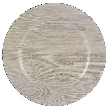 """Amscan Printed Plastic Charger Plates, 13"""", Wood, Set Of 2 Plates"""