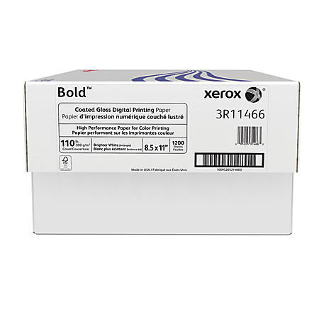 Xerox® Bold Digital™ Coated Gloss Printing Paper, Letter Size, 94 Brightness, 110 Lb Cover (300 gsm), FSC® Certified, White, 200 Sheets Per Ream, Case Of 6 Reams