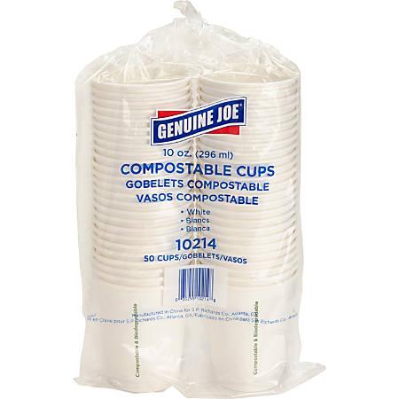 Genuine Joe Eco-friendly Paper Cups - 10 fl oz - 50 / Pack - White - Paper