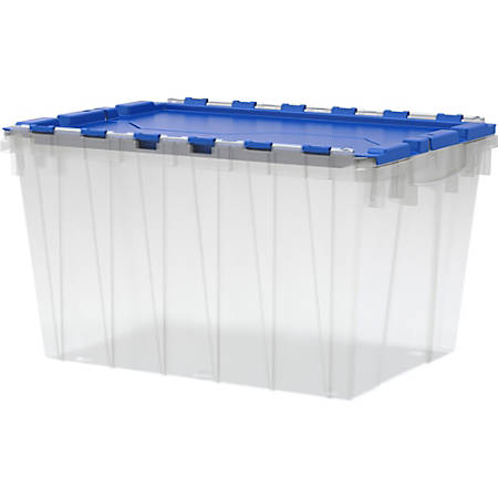 "Akro-Mils Keep Box Container With Lid, 21 1/2"" x 15"" x 12 1/2"", Clear/Blue Lid"