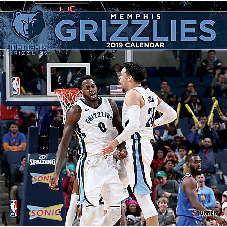 """Turner Sports Monthly Wall Calendar, 12"""" x 12"""", Memphis Grizzlies, January to December 2019"""