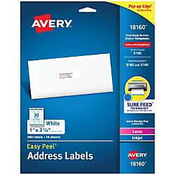 Avery Easy Peel Permanent InkjetLaser Address