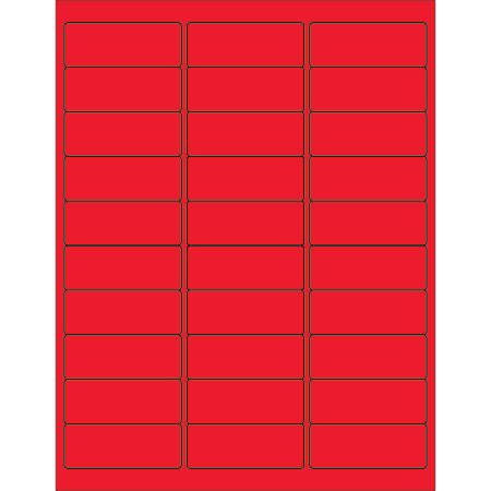 "Office Depot® Brand Labels, LL173RD, Rectangle, 2 5/8"" x 1"", Fluorescent Red, Case Of 3,000"