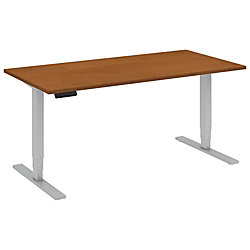 "Bush Business Furniture Move 80 Series 60""W x 30""D Height Adjustable Standing Desk, Natural Cherry/Cool Gray Metallic, Premium Installation"
