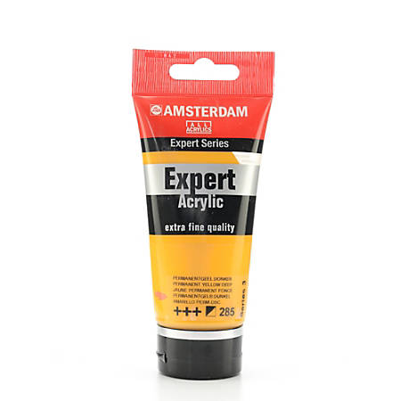 Amsterdam Expert Acrylic Paint Tubes, 75 mL, Permanent Yellow Deep, Pack Of 2
