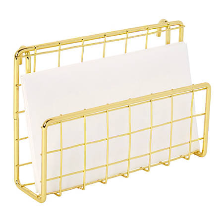 """Realspace™ Metal Wire Hanging Letter Sorter/Business Card Holder, 6-5/8""""H x 2-1/8""""W x 4-7/16""""D, 100% Recycled, Gold"""