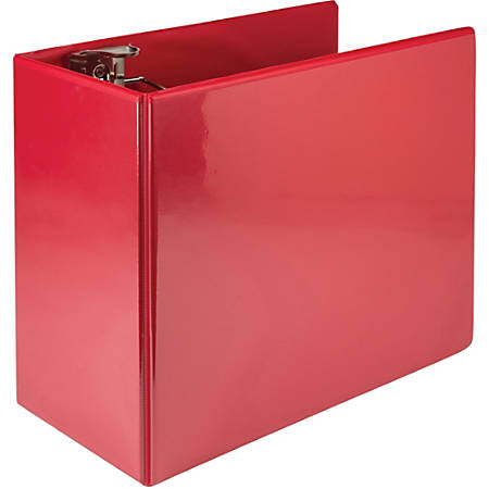 "Samsill Nonstick 6"" Locking D-Ring View Binder - 6"" Binder Capacity - 1250 Sheet Capacity - 3 x D-Ring Fastener(s) - 2 Internal Pocket(s) - Red - Recycled - 1 Each"