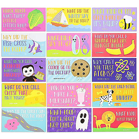 Juvale 60-Pack Kids Funny Lunch Box Note Cards Riddles Jokes Puns