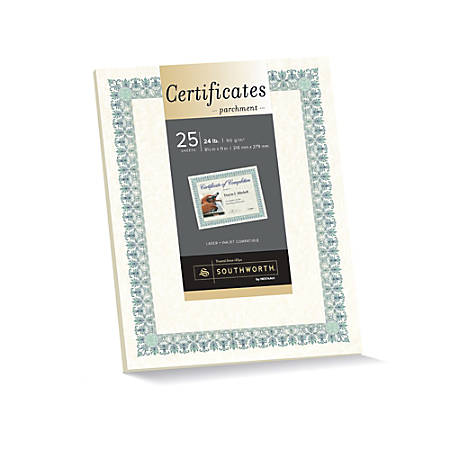 "Southworth® Foil-Enhanced Parchment Certificates, 8 1/2"" x 11"", 24 Lb, Ivory/Green/Blue, Pack Of 25"