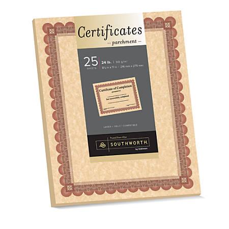 "Southworth® Foil-Enhanced Parchment Certificates, 8 1/2"" x 11"", 24 lb, Copper/Red/Brown, Pack Of 25"